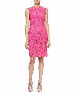 Valentino Sleeveless Lace Sheath Dress in Pink (FRAMBOISE ...