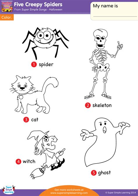 creepy spiders worksheet vocabulary coloring