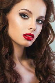 Beautiful Women Faces Red Lips