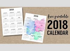 Calendar 2018 Printable One Page Paper Trail Design