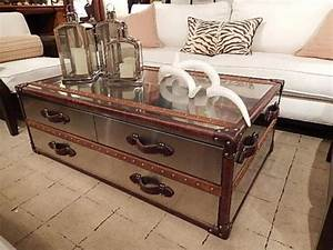 polished metal clad steamer trunk style coffee table With metal chest coffee table