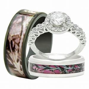 His and hers 3pcs titanium camo 925 sterling silver for Wedding rings his and hers sets