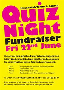 quiz night fundraiser friday 22nd june khandallah With trivia night poster template