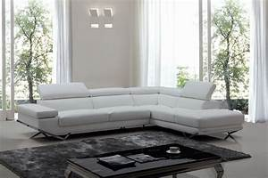 divani casa quebec modern white eco leather sectional sofa With sectional sofa quebec