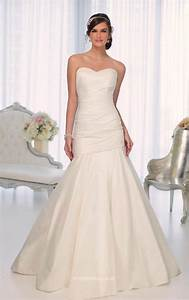ivory satin strapless sweetheart simple mermaid wedding With strapless mermaid satin wedding dress