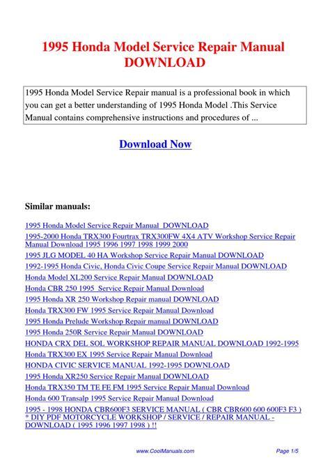 how to download repair manuals 1995 honda del sol on board diagnostic system 1995 honda model service repair manual by lan huang issuu