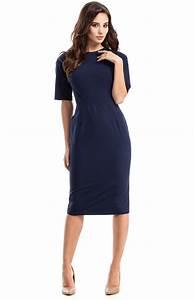 robe fourreau bleue manches mi longues me276bm With robe fourreau chic