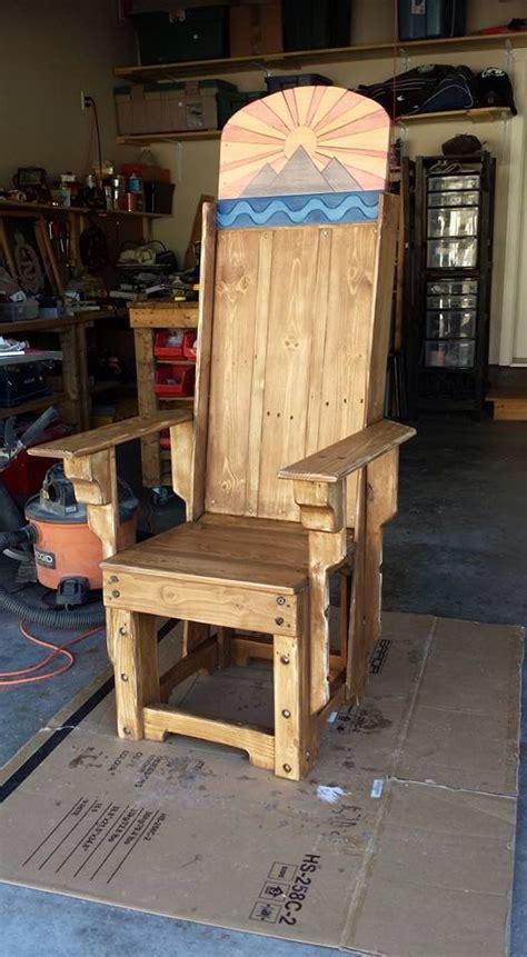 diy pallet throne wooden chair diy pallet furniture