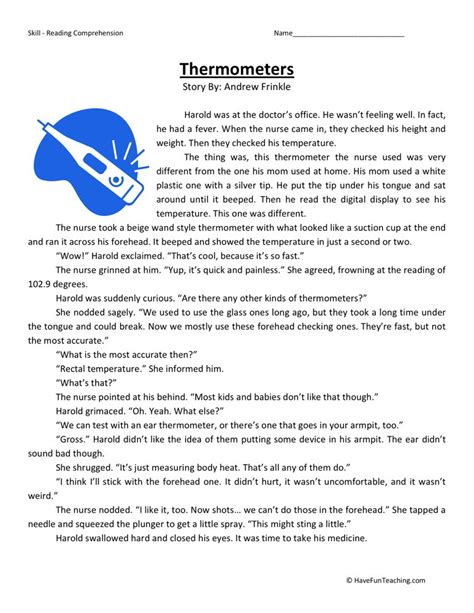 reading comprehension worksheet thermometers