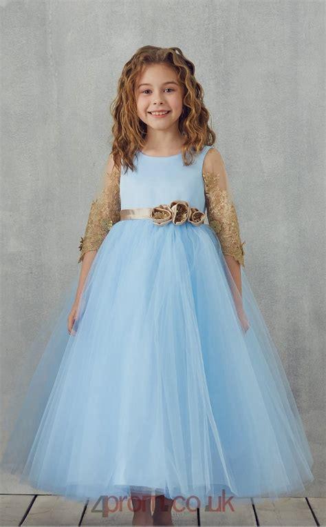 Sky Blue Lace Tulle Jewel Half Sleeve Tea-length Princess ...