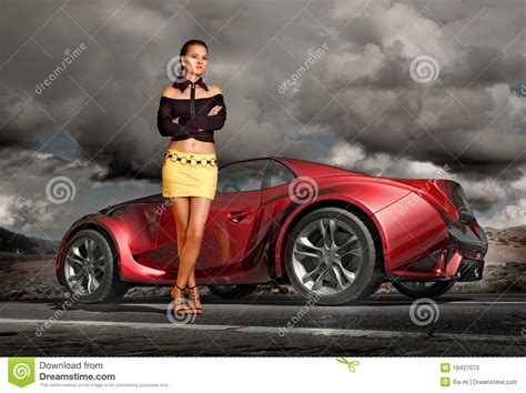 sport cars with girls and sports car stock illustration image of