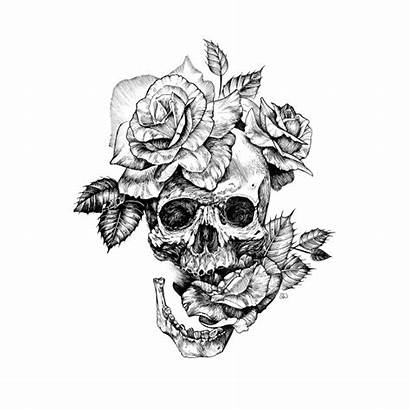Skull Roses Drawing Ink Sleeve Shirt Designs