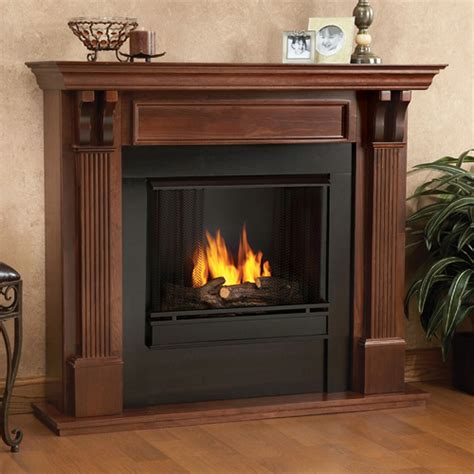 real flame ashley mahogany gel fuel fireplace