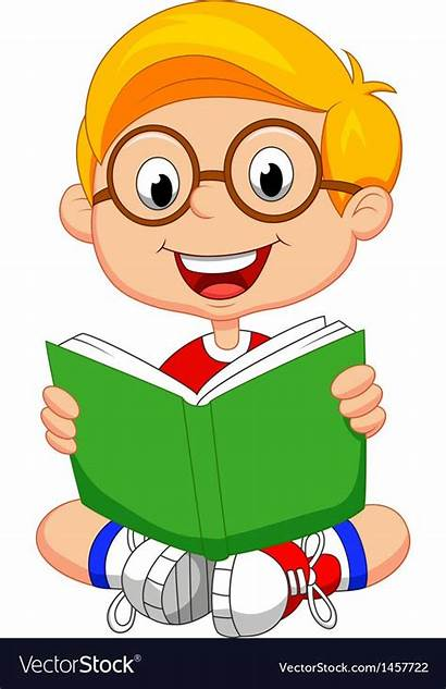 Reading Cartoon Boy Young Vector Clipart Vectorstock