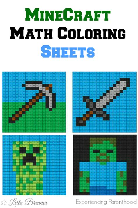 Minecraft Math Coloring Sheets  Experiencing Parenthood