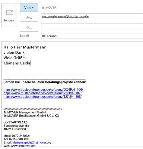 referenzen  die eigene firmen email signatur integrieren