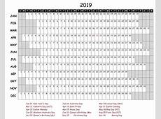 Fillable Yearly Calendar 2019 Excel