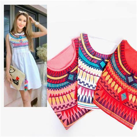 Wk100556 Baju Import dress import bangkok baju bangkok mini dress bohemian