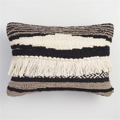 black and white pillows black white and gray kilim lumbar pillow world market
