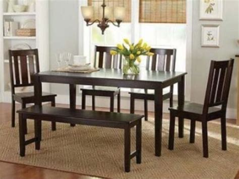 pc mocha dining room set kitchen table chairs bench wood