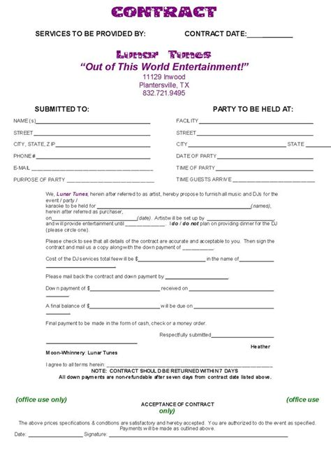 dj contract template  compete agreement