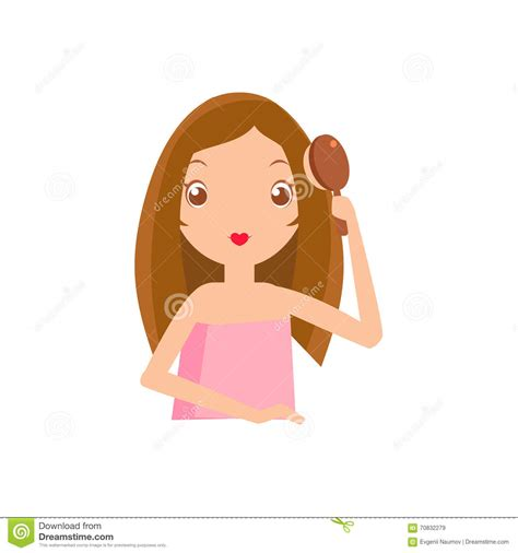 girl brushing hair clipart cliparts
