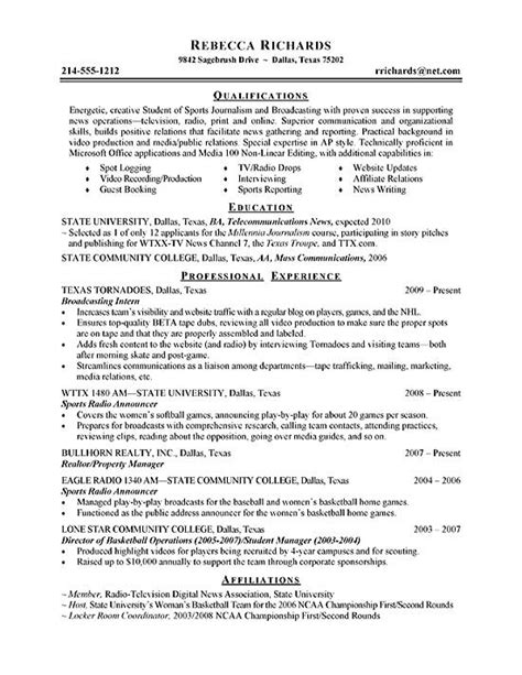 Exle Of Resume For College Internship by Intern Resume Exle