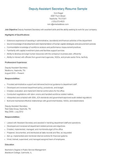 S Assistant Resume by Resume Sles Deputy Assistant Resume Sle