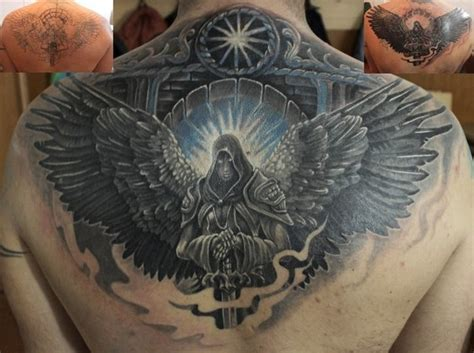 colored fantasy style colored upper  tattoo  angel
