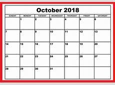 October 2018 Calendar October 2018 Printable Calendar