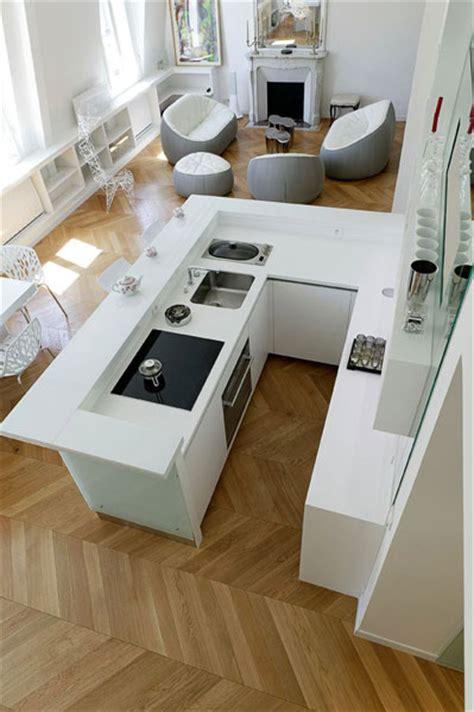 modeles de cuisine avec ilot central cuisine lineaquattro en verre blanc