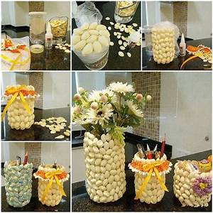 DIY Pencil Holder and Vase with Pistachio Shells
