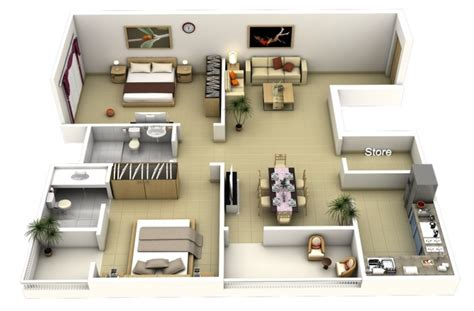 plan appartement 2 chambres idee plan3d appartement 2chambres 40
