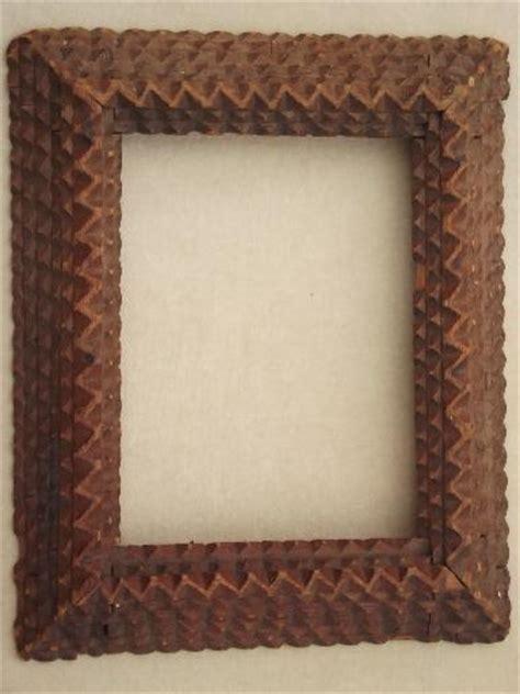 antique tramp art hand carved wood frame  mirror