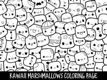 Coloring Doodle Kawaii Printable Adults Marshmallows