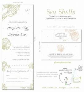 beach wedding invitations on plantable paper sea shell With all in one beach wedding invitations