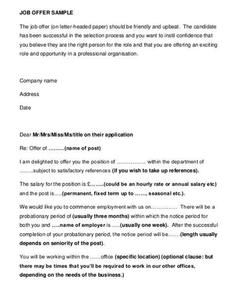 job offer letter uk template  employment offer letter
