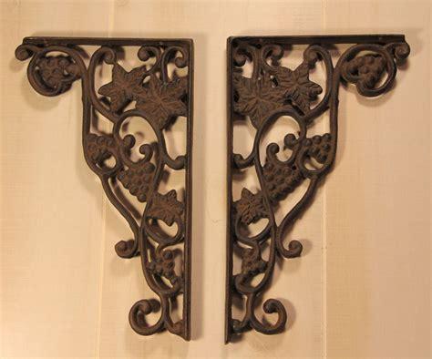 shelf brackets 2pcs wrought iron grape vine pattern angle brackets vineyard ebay
