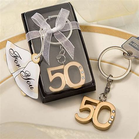 gold  wedding anniversary key chain favors