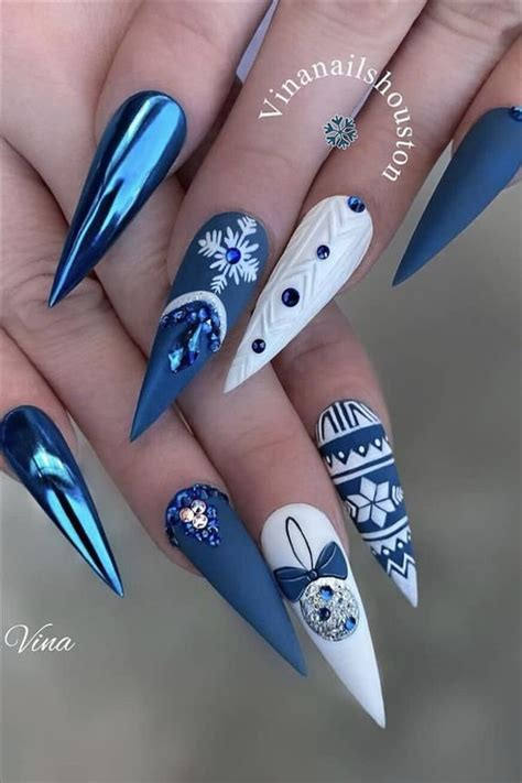 I have thin nails prone to breaking, and most nail polish doesn't last well for me. 2020 A collection of fashion blue nails - Fashion Girl'S Blog in 2020   Christmas nails, Spring ...