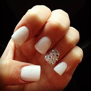 White nails with diamonds - Beauty and fashion