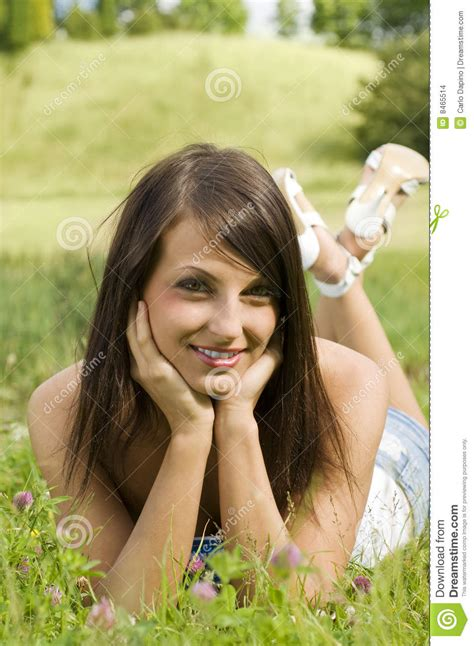 Nice Girl On Grass Stock Photo Image Of Outdoor, Leisure