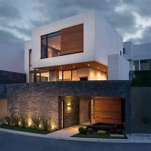 fachada reta branca com acabamento em madeira e vidro With amenagement de terrasse exterieur 17 portes dentree contemporaines komilfo