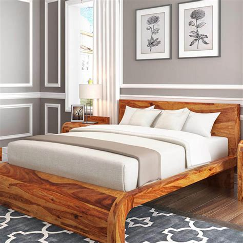 Wooden Bed Platform by Solid Wood Curved Platform Bed
