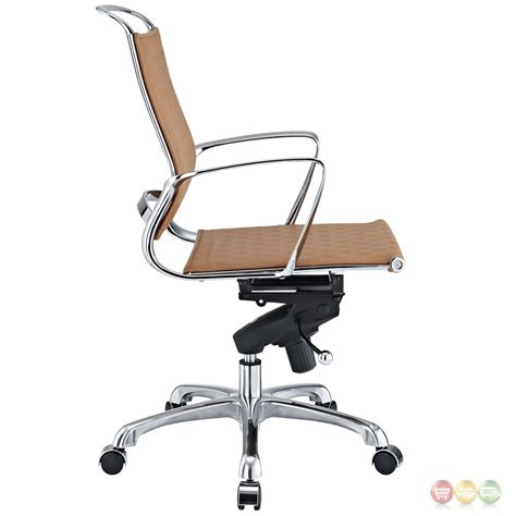 vibe modern mid back leather office chair with chrome