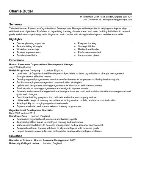 best organizational development resume exle livecareer