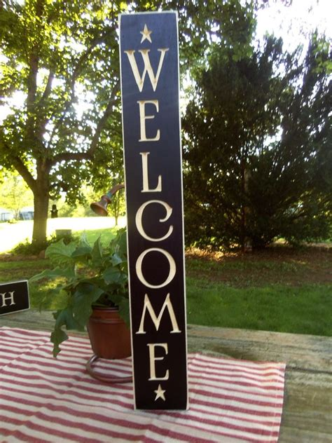 Black Primitive Wood Sign Welcome Rustic Country
