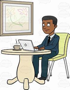 A Male Business Executive Using A Laptop On Her Coffee ...