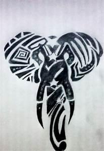Black elephant tribal tattoo
