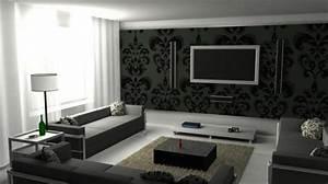 Living Room Wallpaper Black And White ...
